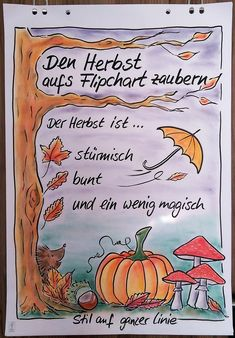 Flipchartgestaltung, Flipchart, Flipchartbild, Her… Kindergarten Portfolio, Boarder Designs, Page Decoration, Visualisation, Halloween Drawings, Sketch Notes, Page Design, Journal Inspiration, Storytelling