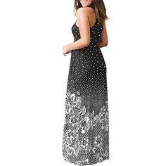 cbd7fecce5f6 Rambling Popular Womens Sleeveless Short Sleeve Maxi Dress Floral Print  Causal Long Dress with Pocket