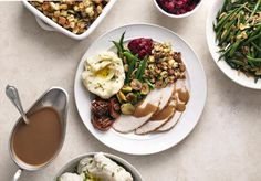 16 Inspirational Thanksgiving Quotes: Overhead of turkey meal