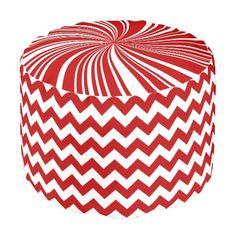 School Colors Chevron Pouf Seat, Red-White Round Pouf