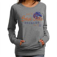 Boise State Broncos Ladies Ash Scoop Neck Fleece Sweatshirt