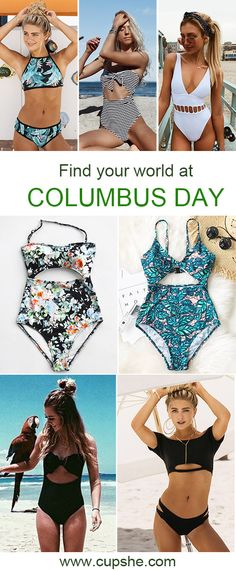 Find your world at COLUMBUS DAY~ Cupshe prepares some hottest essentials for your beach and pool wardrobe. Stunning design combo with comfy fabric! Free shipping & Shop now~