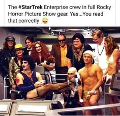 The Enterprise crew in full Rocky Horror Picture Show gear.You read that correctly :; Scott and those damn sexy legs! - Scott and those damn sexy legs! Rocky Horror Picture Show, Star Track, Star Trek Enterprise, Nerd Love, Have A Laugh, Sexy Legs, Popular Memes, Funny Memes, Pictures