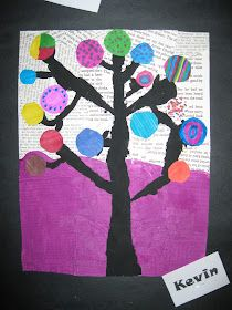 Abstract Art For Kids, Painting For Kids, Autumn Display Classroom, 2nd Grade Art, Grade 3, Dot Day, Black Acrylic Paint, Tree Crafts, Kids Crafts