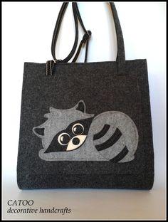 Duza kwadratowa torba z filcu - Catoo-decorative-handcrafts - Torebki