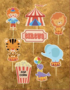 Juego de Cupcake Toppers carnaval Cupcake Toppers Circus