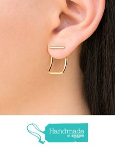 Pair of gold line studs with curved ear jacket earrings, jackets & bar…