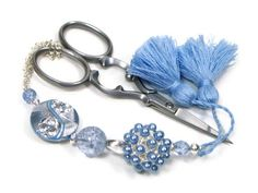 Beaded  Scissor Fob, DIY Crafts, Cross Stitch, Needlepoint, Sewing, Quilting,  Baby Blue, Jeweled, TJBdesigns