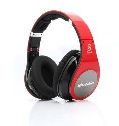 BlueDio Brand R 8 Track Hi-fi Wireless Bluetooth 3.0 Headset Headphones with Micr (Red)