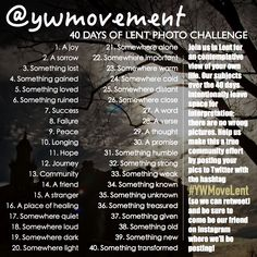 youthworker movement 40 day photo challenge for Lent