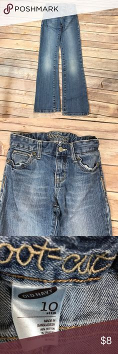 💜Size 10 Slim Old Navy Bootcut jeans Adjustable waist.  Normal wash and wear.  Cuffs show no signs of wear as shown in pics. Old Navy Bottoms Jeans