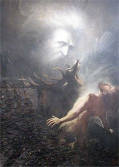 """21 February 1851 - the German painter and social reformer Karl Wilhelm Diefenbach was born in Hadamar in Northern Hesse. Depicted below is his painting """"Du sollst nicht töten"""" (Thou shalt not kill) from Capri, Bible Images, Francisco Goya, Yellow Art, Fantasy Paintings, William Blake, Jackson Pollock, Caravaggio, Fantastic Art"""