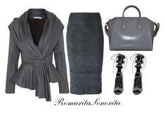 """Deep Grey"" by romaritasenorita ❤ liked on Polyvore featuring Oscar de la Renta, Drome, VC Signature and Givenchy"