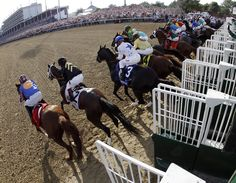 In a photo taken with a fish eye lens, horses leave the starting gate in the 138th Kentucky Derby horse race at Churchill Downs Saturday, May 5, 2012, in Louisville, Ky.