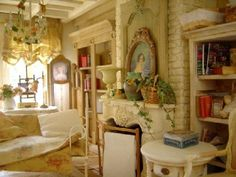 Le salon, in scale Miniature Rooms, Miniature Kitchen, Miniature Furniture, French Home Decor, Shabby Vintage, Diy Dollhouse, Dollhouse Miniatures, Home Living Room, Small Stuff
