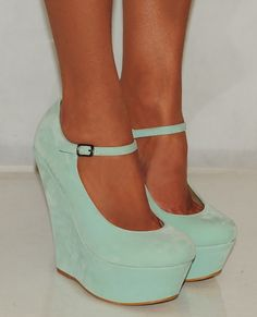 Suede Mint Platform Wedges