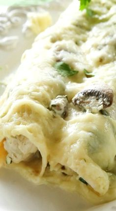 Chicken, Mushroom, and Spinach Enchiladas