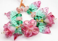 Pink Roses with Leaves and Buds Lampwork Glass Bead Set Izzybeads SRA   eBay