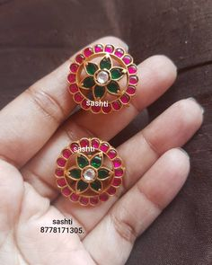 Stunning silver ear tops with gold polish. Earrings studded with rubies and emeralds. Ear tops in flower design. 24 June 2019 Stunning silver ear tops with gold polish. Earrings studded with rubies and emeralds. Ear tops in flower design. Gold Jhumka Earrings, Jewelry Design Earrings, Gold Earrings Designs, Gold Jewellery Design, Ear Jewelry, Antique Earrings, Earrings Uk, Indian Earrings, Bead Jewellery