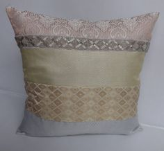 Pink Gold and SIlver Brocade Panel pillow cover- Decorative pillow - 18 inch