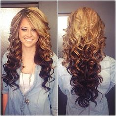 By Robin B. #hairspiration loving the #revombre trend. #curls @Bloom.com