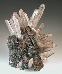 Quartz crystals on hematite rosettes, 69mm x 54mm x 34mm, Jinlong Mine, Guangdong Province, China / Mineral Friends <3