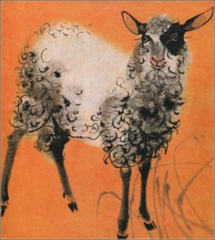 """Sheep: Illustration by Mirko Hanák from the German children's books """"Bilderzoo"""", by Alfred Könner. Watercolor Animals, Watercolor Art, Hokusai, Sheep Art, Wow Art, Illustrations And Posters, Children's Book Illustration, Pet Birds, Painting & Drawing"""