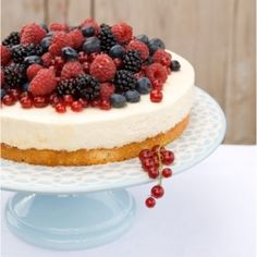 White #Chocolate and Mascarpone Cream #Cake topped with mixed #Berries