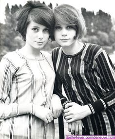 Catherine Deneuve and Francoise Dorleac with lovely hair and wearing lovely stripes | via Peglessness