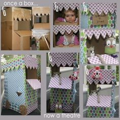 Cardboard box puppet theatre; fun idea to replace our curtain that keeps being torn down mid-puppet show
