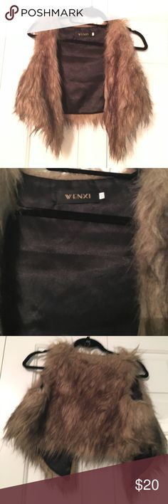 Cropped Faux Fur Vest Cropped faux fur vest! Super cute and only worn once! wenxi Jackets & Coats Vests