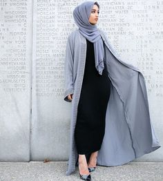 Black abaya and powder blue open abaya and hijab. Hajra_aaa Black abaya and powder blue open abaya and hijab. Hajra_aaa Black abaya and powder blue open abaya and hijab. Street Hijab Fashion, Abaya Fashion, Modest Fashion, Fashion Outfits, Fashion Fashion, Fashion Ideas, Dress Fashion, Cardigan Fashion, Muslim Women Fashion