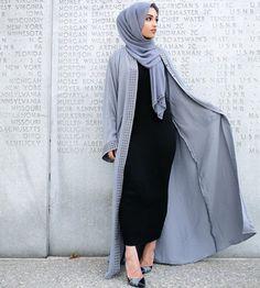 Pinterest: @eighthhorcruxx. Black abaya and powder blue open abaya and hijab. Hajra_aaa