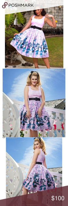 NWT Pinup Couture Aurora Dress Pink Castle Print NWT Pinup Couture Pink Castle Dress, Size S. This dress has small diamonds that look like sparkles or fairy dust on the top of the bodice and a border of castles along the bottom of the skirt part - it would be perfect for Disneybounding or Dapper Days. This fully-lined vintage-style dress would be even more perfect with a crinoline worn underneath. Belt not included from pictures (it is not included with the dress when you buy it, it wasn't…