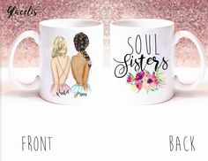 Personalized Best Friend Gift, - Soul Sisters - Unique Friendship Gift, on Coffee Mug - By Glacelis®