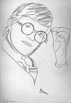 """David Hockney has drawn a very simple line self portrait, using only a pen. He had added """"shading"""" in a way by adding more pen into certain areas."""