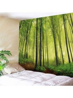 Fog Forest Print Tapestry Wall Hanging Art Decor