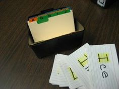 A task like this would work great in your pre vocational center OR in IEP work boxes. A quick and functional activity to set up. Work on letter recognition and organization. You can easily go back later in the day to collect data for accuracy. Read more about this and other great quick vocational tasks at: http://theautismhelper.com/index-card-work-tasks/