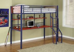 Bedroom How to Scheme a Likeable Bedroom that Swell with Your Daughter: Furniture Fascinating Loft Bunk Bed Design For Kids With Blue Metal Bunk Bed Frame And Single Bed Also Wooden Study Desk And Shelves And Unique Staircase 24 Most Innovative Kids Bunk Bed Designs With