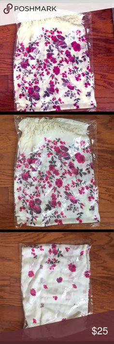 Floral Scarf/Pashima Beautiful floral scarf. New, never out of packaging - not sure if there is brand on it.  Can be unfolded for additional photos if requested or for measurements but it has never been removed from the packaging.  Comes from a pet and smoke free home.  Is a NWT item but tag has never been attached - only in the original packaging. Accessories Scarves & Wraps