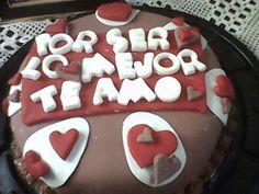 pastel de fondant enamorados corazones