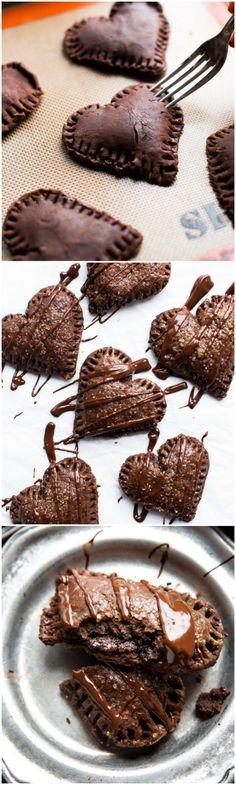 Delicious, warm, and gooey chocolate hand pies with chocolate pie dough and chocolate ganache filling! Recipe on sallysbakingaddiction.com
