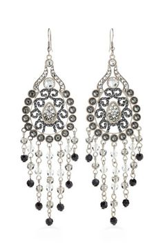 d5fe0740e84b Silver Toned Intricate Chandelier Earrings Layered With Swarovski Crystals.  Pendientes ...
