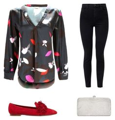 Date Night Outfit Adrianna Papell, Aquazzura, Night Outfits, J Brand, Polyvore Fashion, Floral Prints, Outfit Ideas, Dating, V Neck