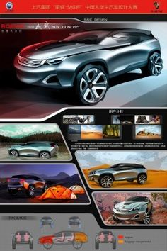 Excellent winner Wu Wei Inner Mongolia Normal University Roewe Force SUV Concept Design Board