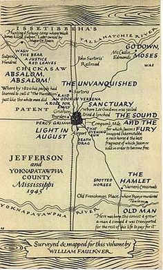 William Faulkner's map of Yoknapatawpha County, 1946