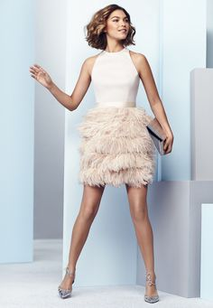 Coast prom dress with feather skirt in pale pink, summer 2015. Worn by Arizona Muse.