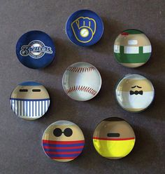 Milwaukee Brewers Racing Sausages Inspired Glass Bubble Magnets - Set of 8 Magnets