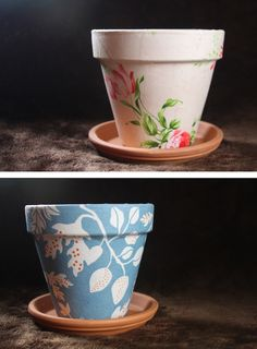 DIY Flower Pots made w/ scrapbook paper and mod podge>>can be used for pens/pencils, tips, suggestion jar,etc.