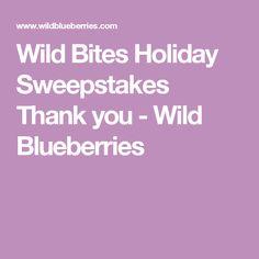 Wild Bites Holiday Sweepstakes Thank you - Wild Blueberries